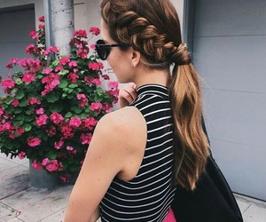 hair, style, and flowers image
