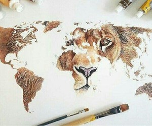 art, lion, and drawing image