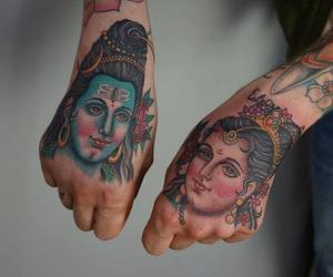 gods, hands, and tattoo image
