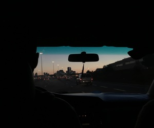 black, driving, and sunset image