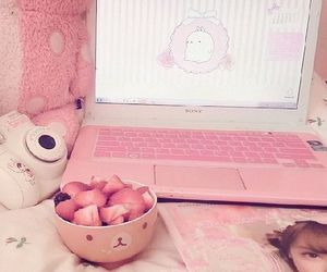 pink, kawaii, and strawberry image