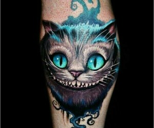 tattoo, alice in wonderland, and cat image