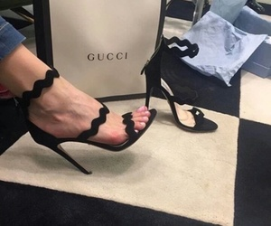 black, heels, and gucci image