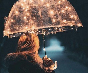 lights, rain, and umberella image
