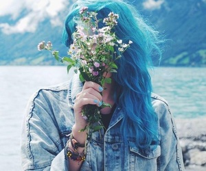 flowers, hair, and blue image