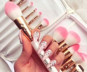 nails, pink, and makeup image