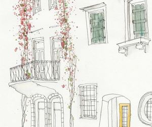 building, drawing, and flowers image