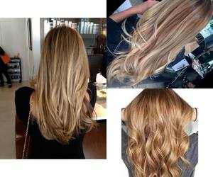 honey blonde, balayage, and long image
