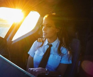 airplane, girl, and pilot image