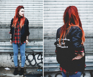 fashion, long hair, and red hair image