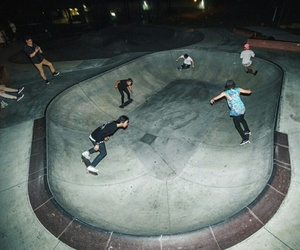 skate, night, and skateboarding image