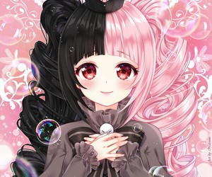 anime girl, bubbles, and pink image