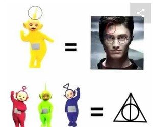deathly hallows, harry potter, and teletubbies image