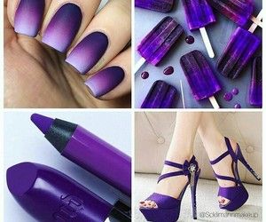 purple shoes, purple lipstick, and purple nail image