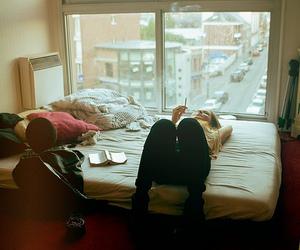 girl, bed, and smoke image