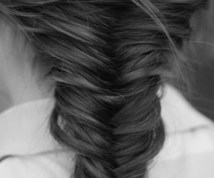 hair, black and white, and braid image