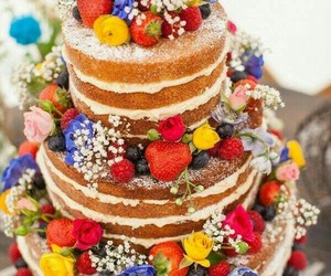 berries, cake, and flowers image