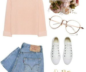 glasses, jeans, and outfit image