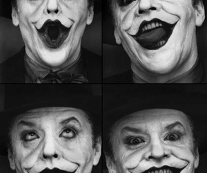 joker, batman, and black and white image