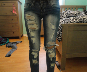 jeans, pants, and rip image