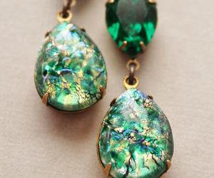 earrings, emerald, and gold image