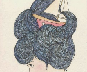 draw, hair, and sea image