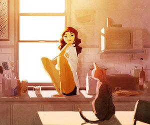 cat, art, and morning image