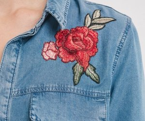 denim, embroidery, and floral image