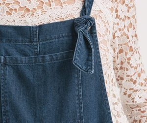 blouse, dungarees, and denim image