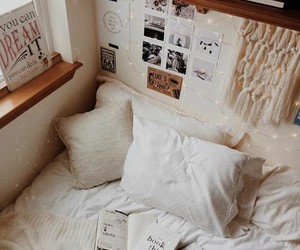 bed, book, and home image