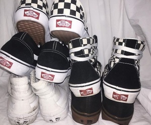 black, checkers, and shoes image