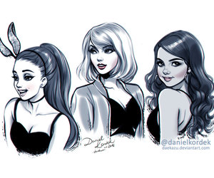 drawing, selena gomez, and Taylor Swift image