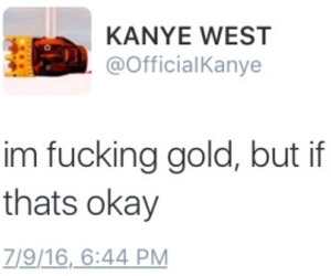 gold, kanye west, and words image