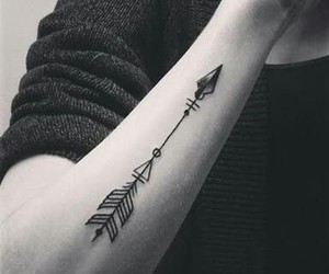 tattoo, arrow, and black and white image