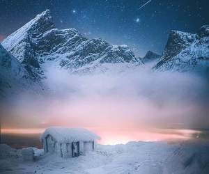 nature, snow, and stars image