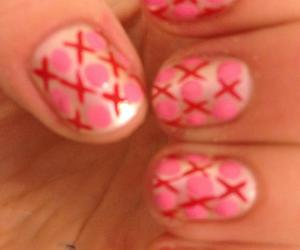 heart, nail art, and red and pink image