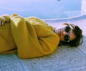 girl, sunglasses, and sweater image