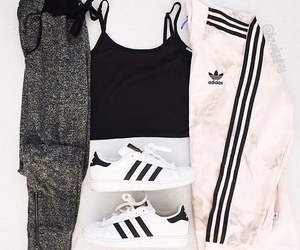 black and white, outfit, and adidas image