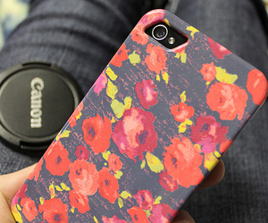 iphone, canon, and flowers image