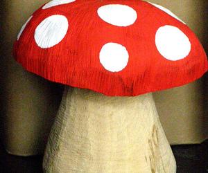 wood, mushroom, and red image