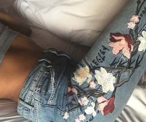 jeans, fashion, and flowers image
