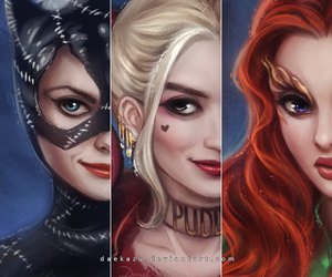 poison ivy, harley quinn, and catwoman image