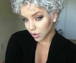 white hair and short curly hair image