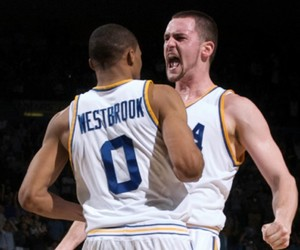 russell westbrook, kevin love, and bruin family image