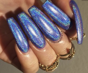 nails, holographic, and blue image