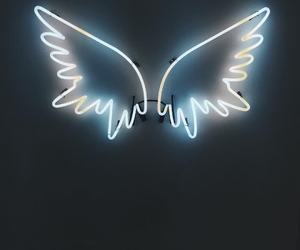 angel, neon, and blue image