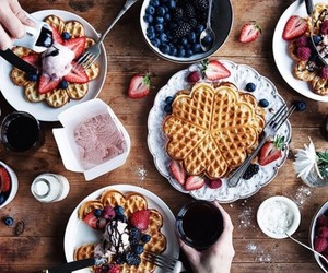 food, waffles, and breakfast image
