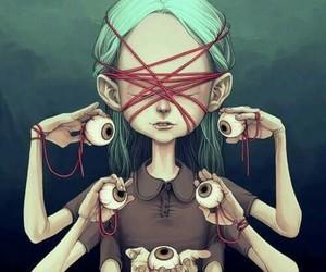 eyes, art, and creepy image
