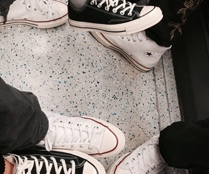 all star, black&white, and converse image
