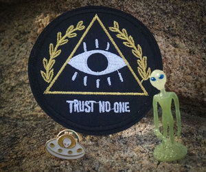 alien, embroidered, and enamel image